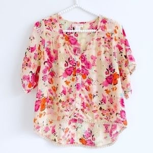 Band of Gypsies Button Front Pom Pom Floral Top